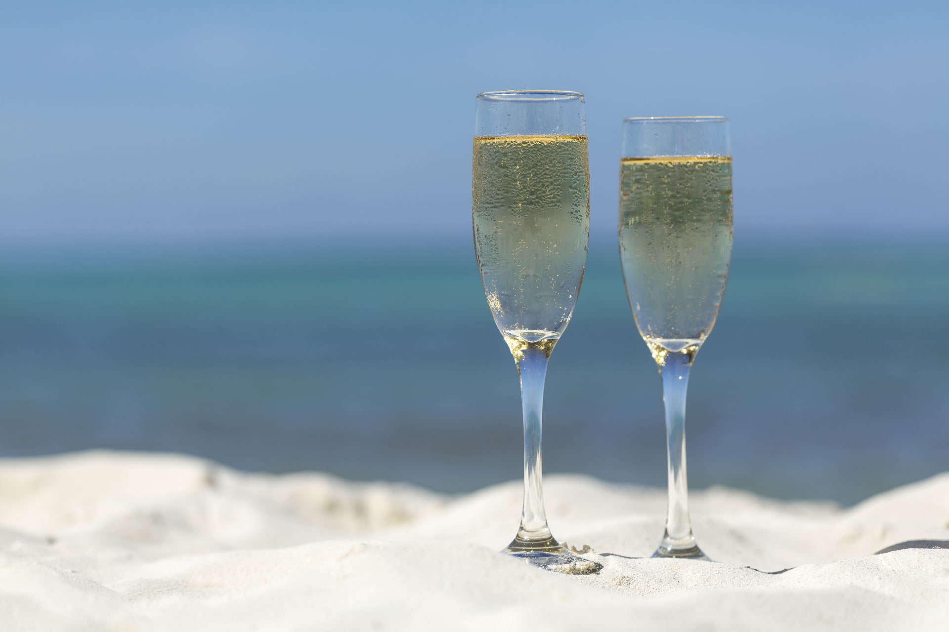 champagne by the beach